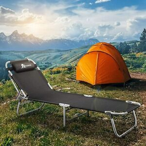 Portable Folding Camping Cot Bed Reclining Lounger Chair 4LVL Adjustable w/Bag