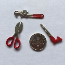 1:12 Scale 3 TOOLS with Working Scissors Dolls House Miniature Shed/Garage/Work