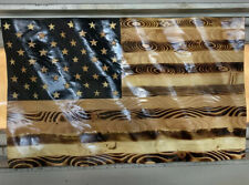 Large Us Wooden Waving Flag Wavy Rustic United States American Usa Wood Burned