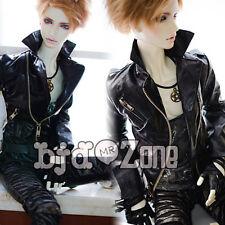 NEW Boy Metal Zipper Black Handsome Leather Tops/ Coat 1/3 1/4 BJD MSD Clothes