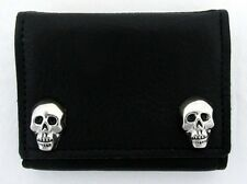 Men's Wallet Black Leather Biker Chain Trifold Silver Metal Skulls Made in USA