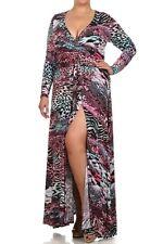 Plus Surplice V-Neck Faux Wrap Jersey Maxi Dress Front Slit Long Skirt Sash Belt