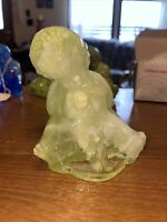 R. WETZEL GLASS Zanesville Ohio SONNY BOY OUR GANG Figurine #3 Vaseline Slag