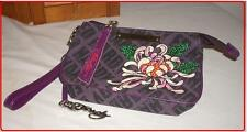 ED HARDY Wristlet Purse Wallet With Bling Beads Purple Multi Color Rare Item