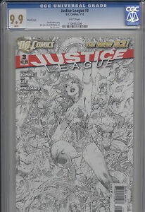 JUSTICE LEAGUE #3 SKETCH COVER - THE NEW 52 1:200 MINT 9.9 High Grade!