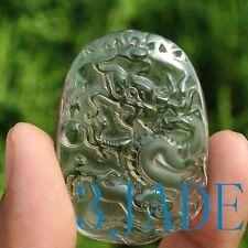 Natural Clear Rock Crystal Quartz Dragon Amulet Pendant Talisman