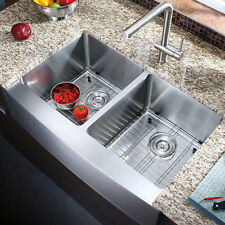 "AZ202 - 33"" Stainless Steel Double Bowl Farmhouse Apron Kitchen Sink COMBO"