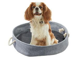 Hunde-und Katzenkörbchen Ø 40 cm grau inkl. Kissen Tierbett mit Henkel Hundebett
