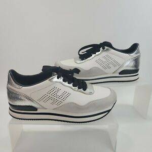 Hogan Perforated Sneakers Shoes White Silver Black Women's Size US 7.5 / EU 37.5