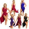 Women Ladies Lyrical Dress Asymmetric Ballet Tutu Dancewear Costume Gym Leotard