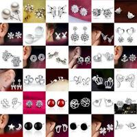 Women Wedding 925 Sterling Silver Crystal Zircon Dangle Hoop Earrings Ear Studs