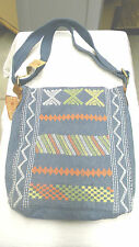 NWT Lucky Brand Large Crossbody Messenger Denim & Leather Embroidered