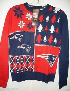 NFL New England Patriots Busy Block Ugly Sweater Youth Size Youth Medium by FOCO