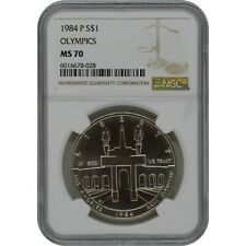 1984-P Olympics Commemorative Silver One Dollar Coin NGC MS70