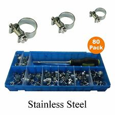 80 x Assorted Stainless Steel Mini Fuel Line Hose Clamps & Flexible Hex Driver