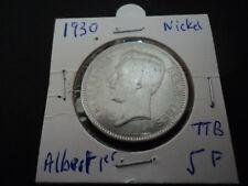 5 francs Nickel Albert 1 er année 1930 (BELGIQUE)