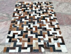 COWHIDE PATCHWORK CARPET AREA RUG LEATHER Cow hide EXCLUSIVE FANTASY !!