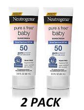 2pk Neutrogena Baby Sunscreen Pure & Free Lotion SPF 50 3oz Broad UVB EXP 2019