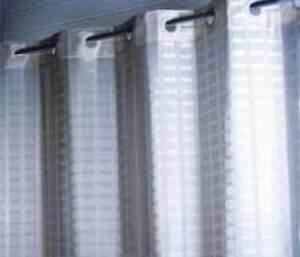 HOTEL HOOKLESS WHITE MODERN GRID DESIGN LONGER LENGTH SHOWER CURTAIN 180x200CM