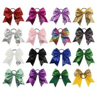 Large Sequin Cheer Bows Elastic Bands Boutique Girl Ribbon Cheer Bow 14 Color