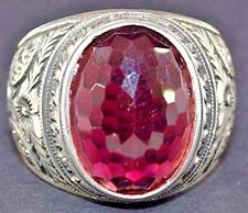 Sterling silver men ring handmade, steel pen craft, garnet stone, Byzantine Empi