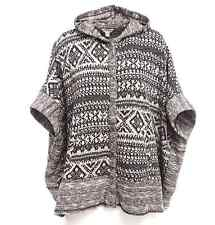 LUCKY BRAND GEO PATERN JACQUARD TERRY HOODED PONCHO SWEATER JACKET 1X 2X 3X