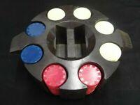 ROUND BAKELITE? POKER CHIP & CARD HOLDER W/CHIPS CREAM RED BLUE & BROWN HOLDER