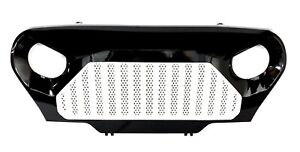 For 97 06 Jeep Wrangler TJ Gladiator Style White Black ABS Overlay Grille Grill