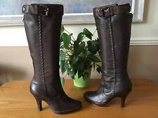 Ladies Nine West brown leather knee length platform buckle boots UK 4 EU 37