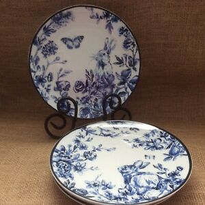 """Williams Sonoma Set Of 4 NWOT Country Bunny Blue 8"""" SALAD Plates Floral"""