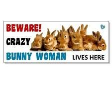 Funny méfiez-vous lapin bunny Acrylique Signe Plaque hutch cage run Porte Jardin Cadeau