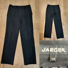 Men's JAEGER Smart Work Business Trousers Size 31 Regular W32 L32 Dark Grey Wool