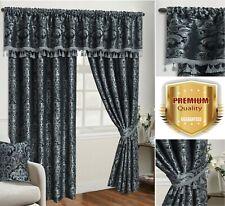 Jacquard Curtain Pair Fully Lined Pencil Pleat Ready Made OR Pelmet Tieback Grey