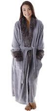 Women Men Warm Winter Fur Collar Pocket Fleece Robe Spa Robe Bathrobe Sleepwear