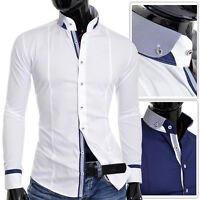 D&R Mens Casual Shirt Grandad Band Collar Slim Fit Cotton White Navy Finish UK