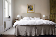 100 % Linen BED SKIRT flat Queen King Twin Full Any Drop Length available