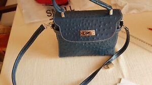 Lederhandtasche Leder Tasche royalblau Italien Straußenleder Kelly Bag  WIE NEU