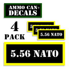 """5.56 NATO Ammo Can Labels  Ammunition Case 3""""x1.15"""" stickers decals 4 pack BLYW"""