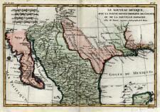 New Spain Mexico Texas Louisiana European Colonialism 1790 Bonne engraved map
