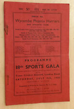 Wycombe Phoenix Harriers & Athletic Club 18th Sports Gala Programme - July 1938