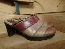 BASS Women's Multi-Color Leather Redford Mule Block Heel Slide Brazil Size 7.5M