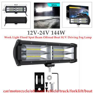 12V-24V 144W Offroad Boat SUV LED Work Light Flood Spot Beam Driving Fog Lamp