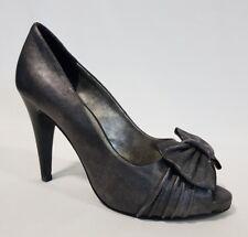 Ladies Shoes Pulp Noir CARLA Size US 7 Metal Grey Leather Peeptoe Heels
