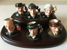 Royal Doulton Tiny Toby Jugs Sherlock Holmes Set Display Stand 6 Jugs Excellent