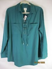NWT Chico's Pacific Teal Lace Up  Long Sleeve Tunic Top M20 - Size 2