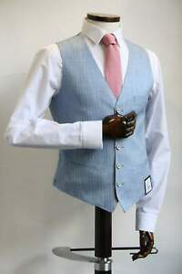 Remus UomoLeo Sky Blue Pinstripe Waistcoat