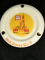 Vintage Walt Disney World Productions Ashtray Gold Glass Cinderella's Castle 70s