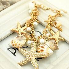 Trendy Chunky Sea Shell Starfish Pearl Bib Statement Gold Multi Bracelet Gift JP