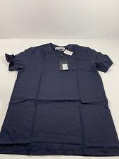 YSL Yves Saint Laurent Solid Navy Blue Short Sleeve Shirt Mens Sz M NWT