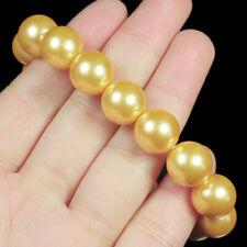 12mm Man Made Yellow Pearl Round Beads Bracelet ChainBPH14